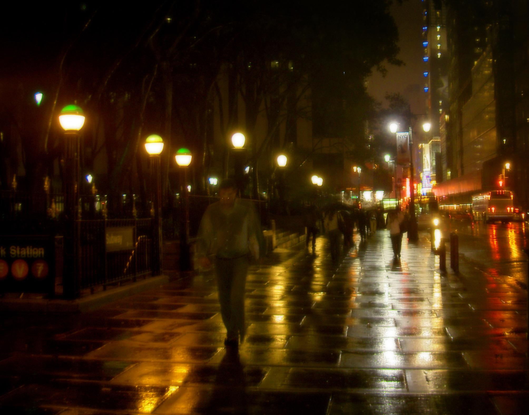 New York City Streets At Night Rain